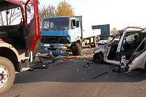Vážná nehoda u Mnichova Hradiště.