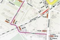 Pampka objízdné trasy, která čeká na motoristy kvůli opravě části Jungmannovy ulice v Bakově nad Jizerou.