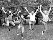 Rocková skupina Diskant - začátky, rok 1982. Zleva: František Brunclík, Jaroslav Špička, Vladislav Fanta, Miroslav Horna.