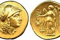 Zlatý statér Alexandra Makedonského  Toto platidlo bylo předlohou nejstarších mincí Keltů.