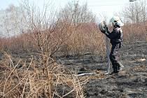 Požár trávy u rychlostní komunikace R10