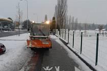 Odklízení sněhu v Mladé Boleslavi.