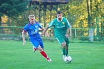 Fotbalisté Rapotic (v zeleném) si i přes vysokou porážku s rezervou Velké Bíteše zajistili postup do finále Turnaje čtyř.