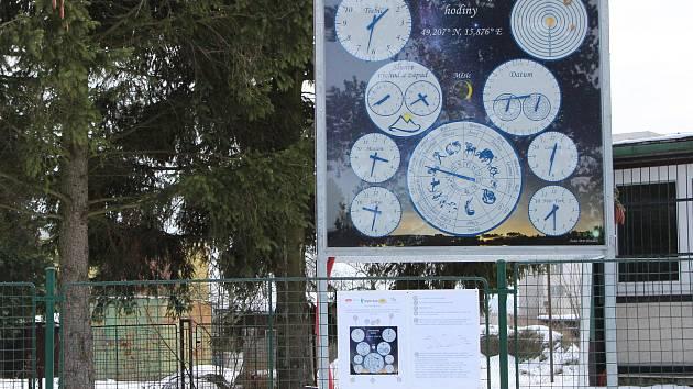 Astronomické hodiny u hvězdárny v Třebíči.