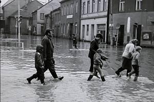 Povodeň v Třebíči v květnu 1985.