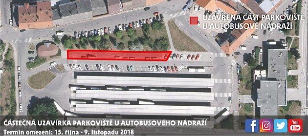 Plán rozšíření parkoviště uautobusového nádraží.