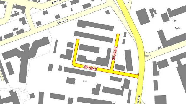 mapa ukazuje místo, kde leží Stavební ulice.