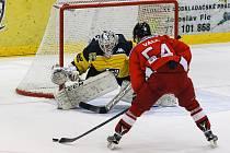 Utkání 42. kola hokejové 2. ligy mezi HC Moravské Budějovice 2005 a HC Lední Medvědi Pelhřimov.
