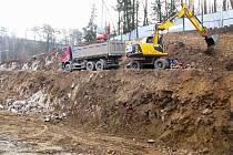 Stavba nové tělocvičny v Borovině.