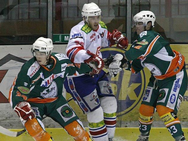 Utkání první hokejové ligy play out mezi Třebíčí a Mostem proběhlo v sobotu v 18. hodin. Třebíč vyhrála 5:0.