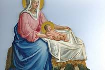 Papírová figurka z betlému, Panna Marie s Ježíškem. Autorem je Eduard Klaus (1841 - 1904).