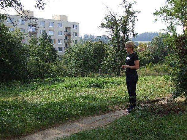 Hana Kloudová ukazuje dřívější zahradu, kde má vyrůst nový dům. O záměru se prý dozvěděli až v konečné fázi.