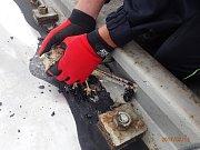 Vysoké teploty posledních dnů způsobily uvěznění mladé poštolky obecné v roztaveném asfaltu u kolejiště v areálu Jaderné elektrárny Dukovany. Zachránit ji museli tamní hasiči.