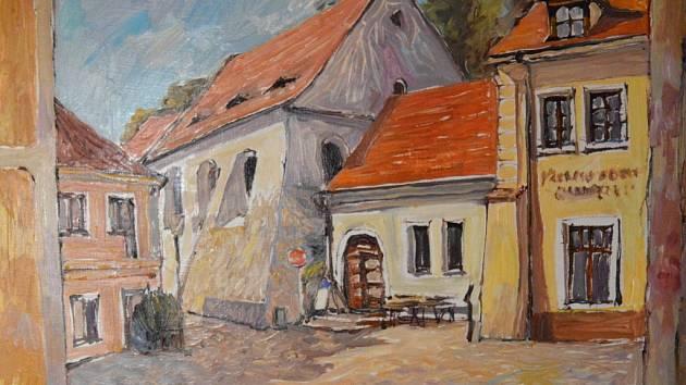 Mirek Řídký: Třebíč, Zadní synagoga, olejomalba, 2009.