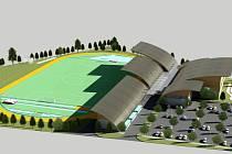PŘEDBĚŽNÁ VIZUALIZACE.  Nový sportovní areál by měl přirozeně splynout s okolím, bude celý bezbariérový a rozhodně nevyroste najednou. Cena je totiž nemalá, okolo dvou set milionů korun. Staré armádní prostory během letoška definitivně zmizí.