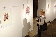 Vernisáž výstavy grafik Karla Demela v třebíčské Galerii Malovaný dům.