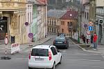 Dopravní situace v Třebíči po zavření Bráfovy třídy.