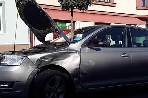 Dvě auta havarovala ve čtvrtek 12. září dopoledne v části Horka - Domky v Třebíči.