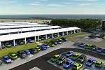 Nové parkoviště s fotovoltaickými panely u dukovanské elektrárny.