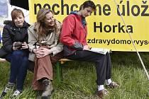Protest proti úložišti v lokalitě Horka na Třebíčsku.