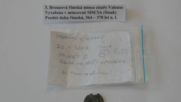 Římská mince z období osídlení Germánů.