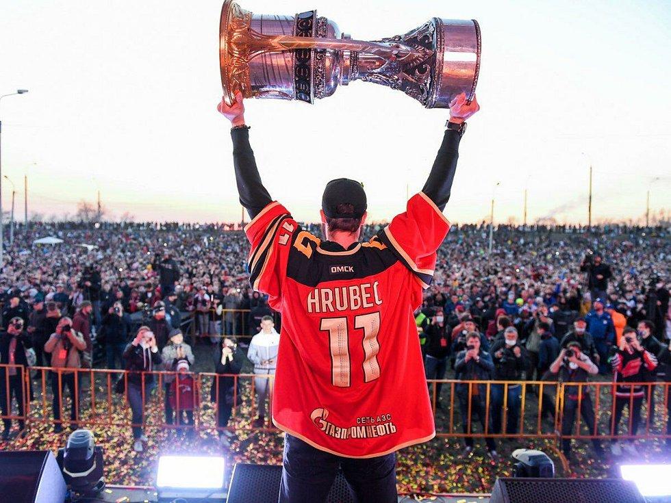 Takto slavil Šimon Hrubec triumf v KHL.