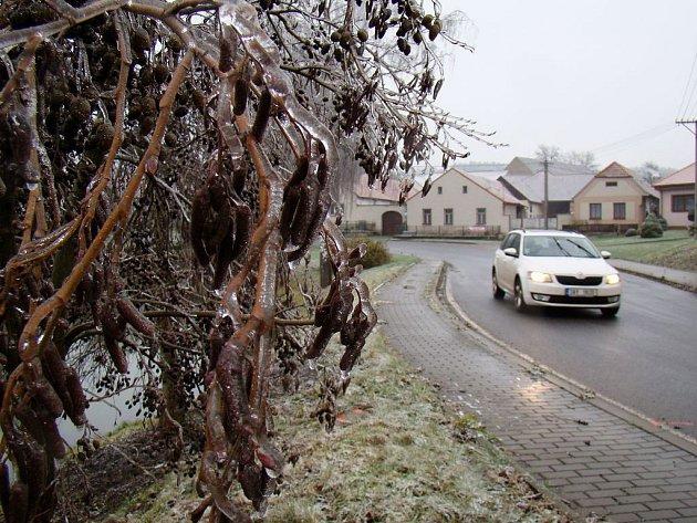 Námraza umí být krásná i krutá. Zatímco na návsi v Nové Vsi ozdobila keře a stromy, o kus dál ve směru na Třebíč páchala škody. Nejen tam musí řidiči projíždět opatrně.