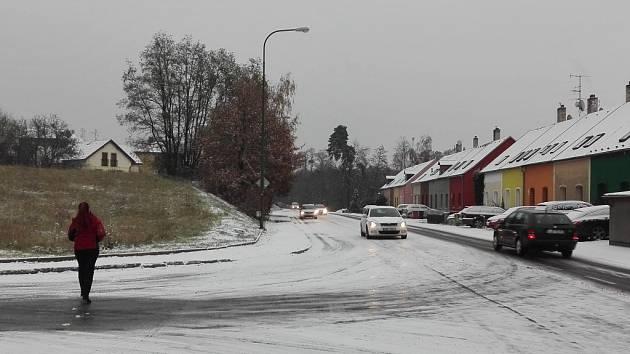 Sníh v Třebíči.