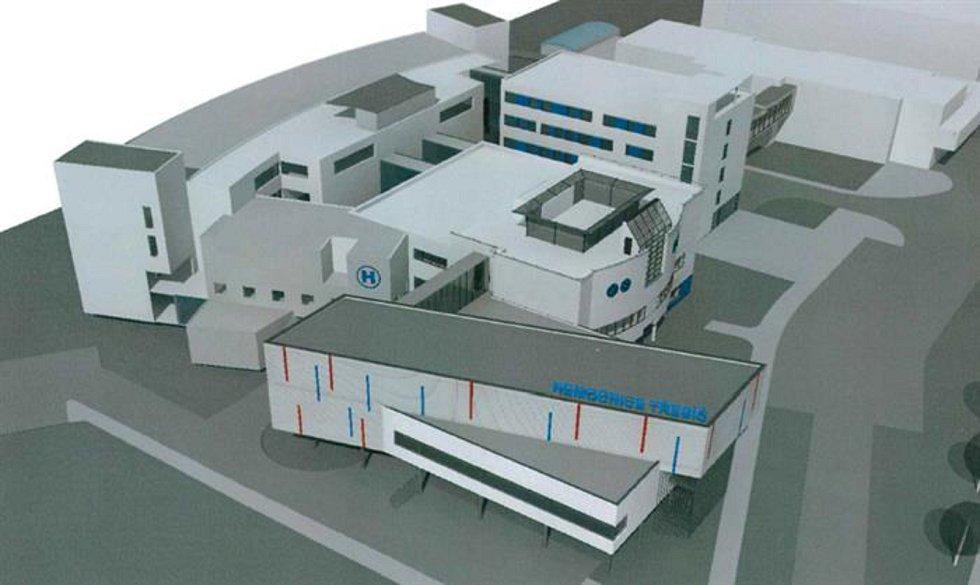 Vizualizace, jak bude vypadat nový nemocniční pavilon v Třebíči, jeho stavba začne zanedlouho. Jde o objekt nejvíc vpředu.