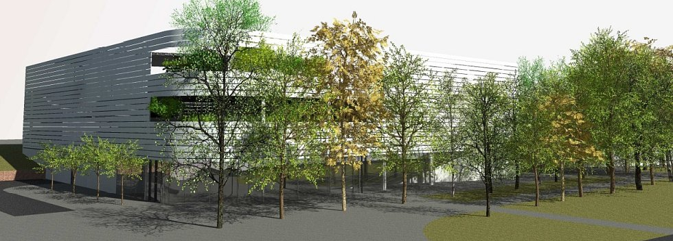 Vizualizace. Parkovací dům se čtyřmi nadzemními podlažími a kapacitě 218 parkovacích míst bude sloužit nejen klientům, zaměstnancům a návštěvníkům nemocnice, ale také široké veřejnosti.