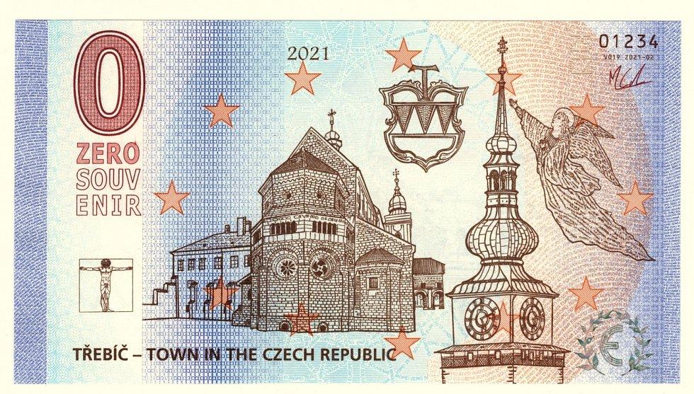 Přední stranu bankovky zdobí třebíčská bazilika a městská věž.