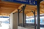 Vlakové nádraží v Třebíči. Vstup do podchodu.