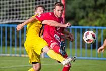 Fotbalové utkání krajského přeboru mezi HFK Třebíč – Bedřichov. Sázet na Třebíč se v první polovině podzimu vyplatilo, ve druhé nikoli.