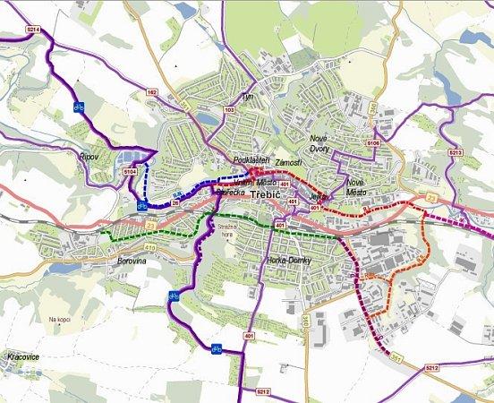 Stávající prostor pro jízdu cyklistů by vbudoucnu mělo rozšířit hned několik nových cyklostras a cyklostezek. Ty jsou zobrazeny barevnými přerušovanými čárami.