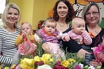 V Třebíčském centru soutěžila miminka z Třebíče a okolí o titul Nej mimi. V kategorii Miss veřejnost zvítězila Julie Veselá (vlevo), u poroty nejlépe uspěla Adéla Marešová (uprostřed). A titul Miss sympatie získala Eliška Burianová (vpravo).