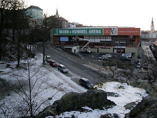 Zimní stadion v Třebíči.