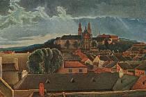 Obraz třebíčské baziliky od Imricha Plekance.