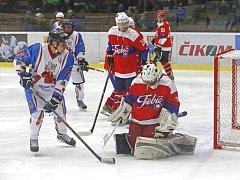 Exhibici na oslavu dvacetiletého výročí Třebíče v první hokejové lize.
