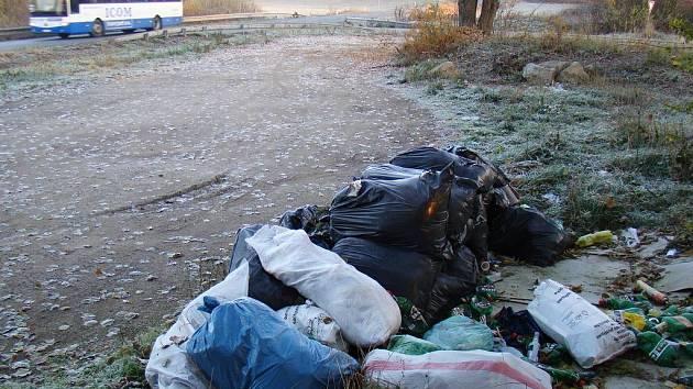 Krajinu u rybníka Březina mezi Trnavou a Rudíkovem znečišťuje nelegální skládka.