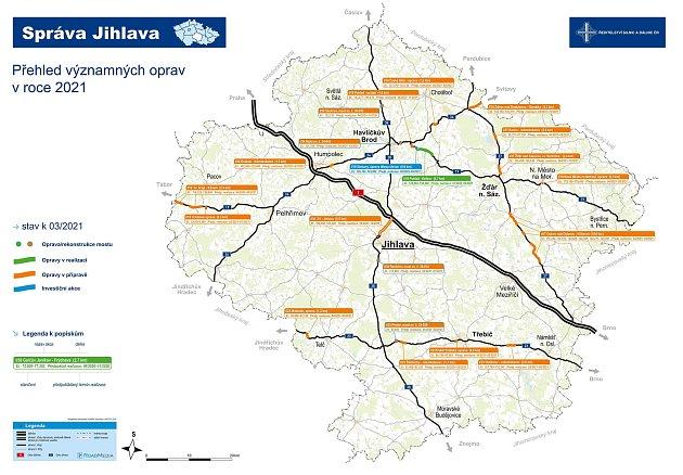 Iletos plánuje Ředitelství silnic a dálnic rekonstrukce komunikací na Vysočině.