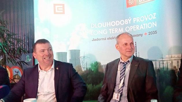 Ředitelé Martin Uhlíř a Miloš Štěpanovský na setkání s novináři v infocentru dukovanské elektrárny ve čtvrtek 31. ledna 2019.