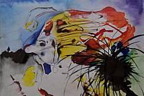 Martin Hronza: Bez názvu, dekalk, akvarel, 42 x 30 cm, 2004.