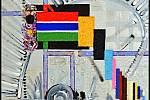 Paul Ewert: Kompozice s vlajkou Gambie na stříbrném podkladě, akryl a písek na plátně, 2009.