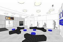 Návrh nového interiéru výpravní haly na autobusovém nádraží v Moravských Budějovicích.
