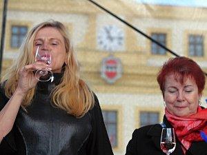 Na třebíčském náměstí lidé ochutnávají Svatomartinská vína