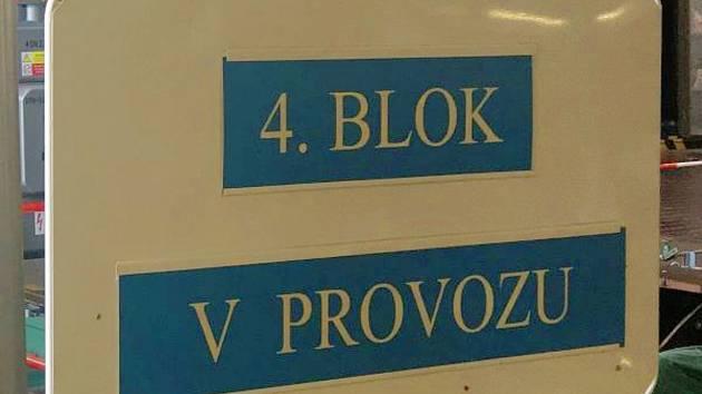Energetici v Dukovanech ukončili odstávku a obnovili výrobu na čtvrtém výrobním bloku