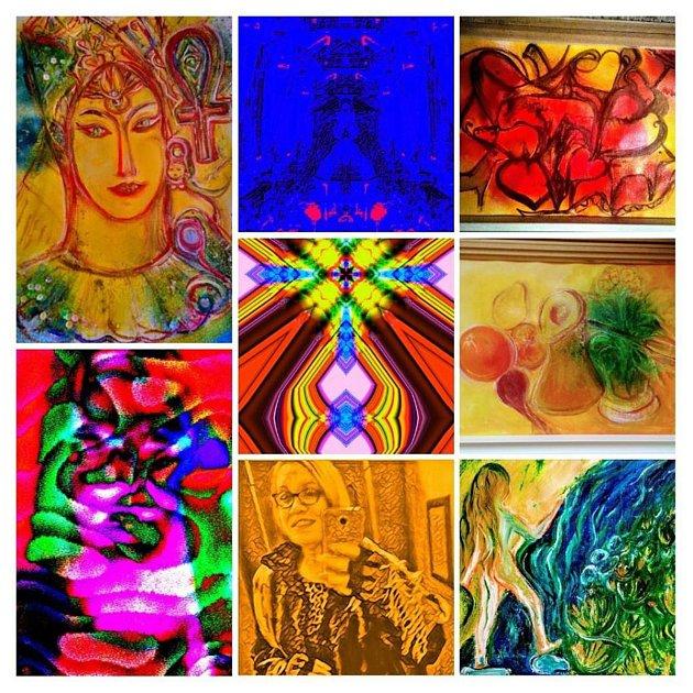 5. Každý můj obraz je příběh. Mám vlastní styl. Ráda maluji klasicky, olejem na plátně. Tvořím ale většinou zrecyklovaných materiálů. Kvůli přírodě. Používám třpytivé barvy, zlaté, bronzové, duhové. Maluji na boty, na šaty, na nábytek. Fresky na zdi iná