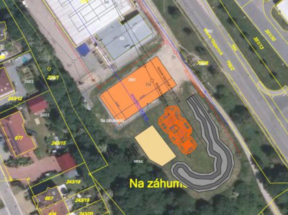 Plán areálu pro bikery na Záhumenici v Třebíči.