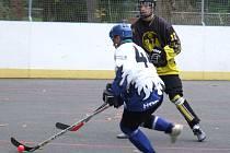 Sedm statečných hráčů třebíčské Slzy (v tmavém) vzdorovalo v utkání Moravské hokejbalové ligy třináctičlenné přesile favorizovaného Hodonína.