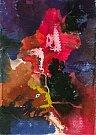 Martin Hronza: Výkřik, dekalk, akvarel, 42 x 30 cm, 2005.